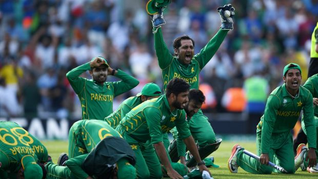 Pakistan celebrate with a prayer after winning the ICC Champions Trophy Final.