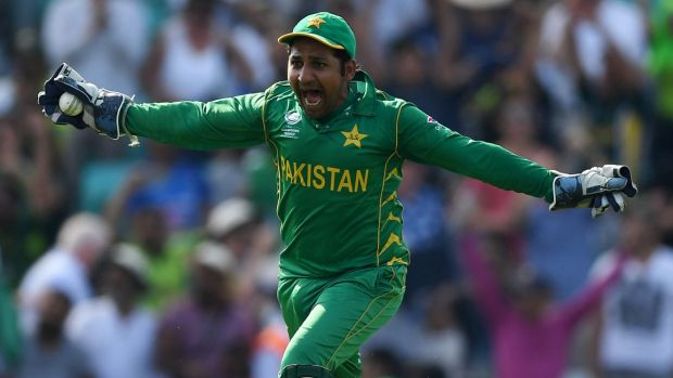 Pakistan captain Sarfraz Ahmed celebrates winning the 2017 ICC Champions Trophy at the Oval on Sunday.