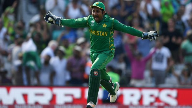 Pakistan captain Sarfraz Ahmed celebrates after winning the ICC Champions Trophy Final between India and Pakistan.