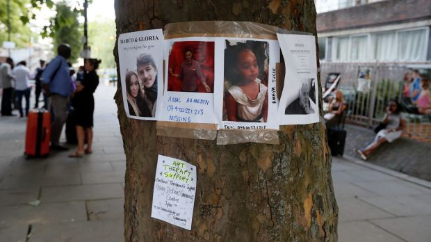 Posters of the missing are still scattered on local trees and buildings.