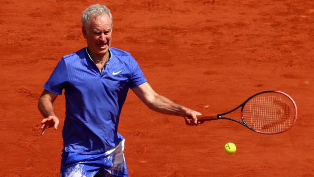 John McEnroe during a Men's Legends match at the French Open.