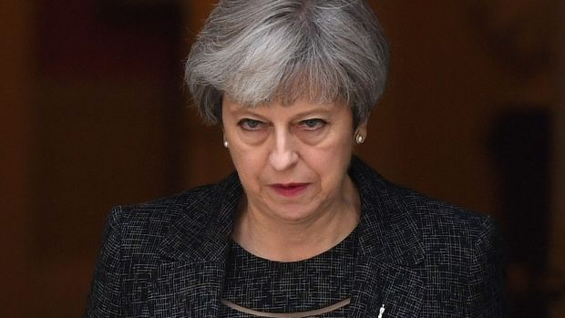 Under pressure: British Prime Minister Theresa May on Thursday.