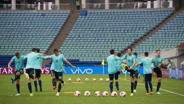 The Socceroos train at the Fisht Stadium in Sochi ahead of their clash with Germany.