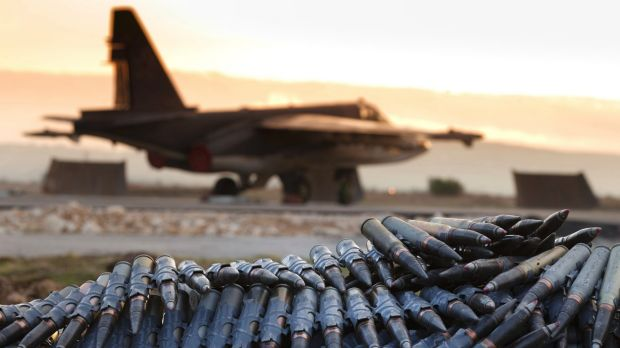 A load of ammunition is prepared to be loaded on to Russian war planes at Hemeimeem air base in Syria last year.