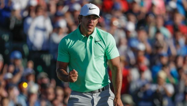 Open the account: Tournament champion Brooks Koepka celebrates after the fourth round of the US Open in what is his ...