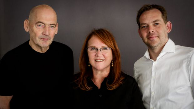 OMA architects Rem Koolhaas and David Gianotten with MPavilion founder Naomi Milgrom.