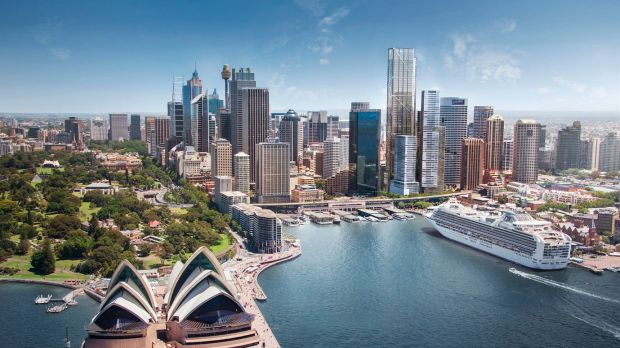 Lendlease's $1.5 billion Circular Quay Office Tower (tallest building  towards the right) will sit behind the Wanda One ...