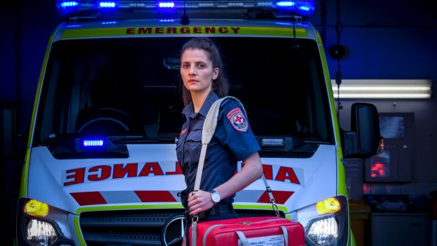 Paramedic Charlotte Paton was almost hit by a semi-trailer while treating someone on the side of the road.