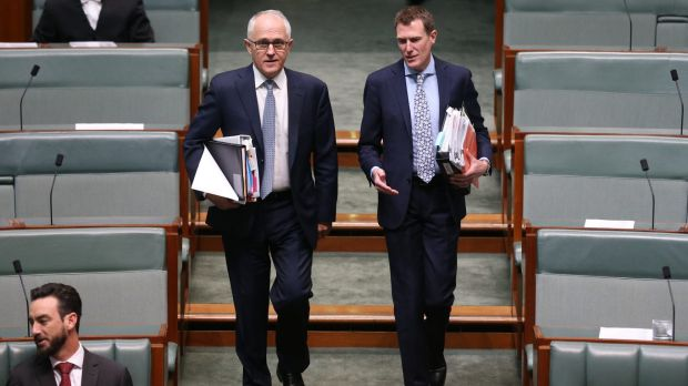 Prime Minister Malcolm Turnbull and Social Services Minister Christian Porter arrive for question time on Monday.