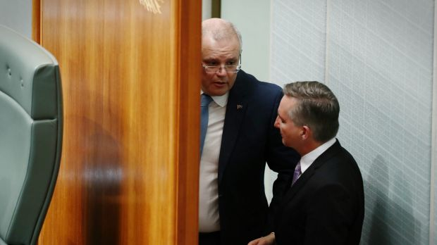 Treasurer Scott Morrison and shadow treasurer Chris Bowen during question time on Monday.