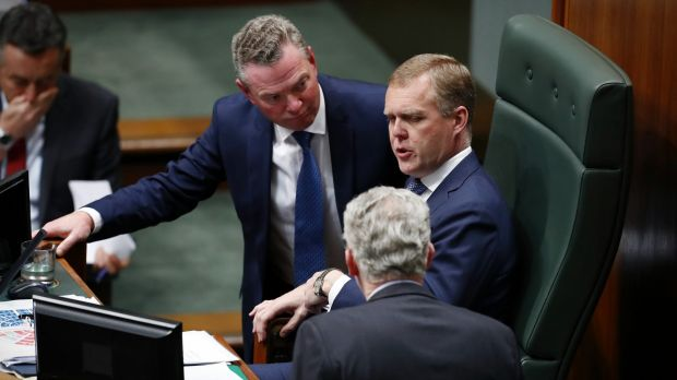 Defence Industry Minister Christopher Pyne, Speaker Tony Smith and manager of opposition business Tony Burke during ...
