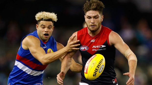 Tomas Bugg of Melbourne, who trash-talked Western Bulldog Jason Johannisen before Sunday's match, has been told to be ...