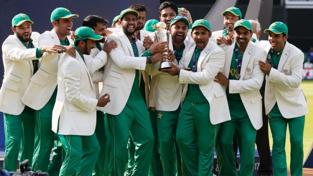 Pakistan players celebrate during the award ceremony for the ICC Champions Trophy.