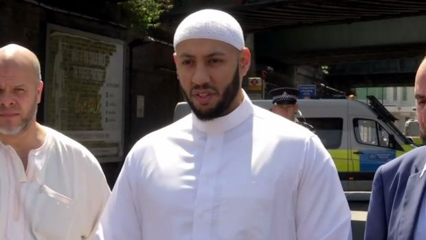 Imam Mohammed Mahmoud addresses the media following the attack.