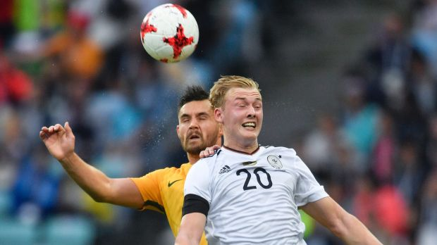 Germany's Julian Brandt, right, and Australia's Bailey Wright go for a header during the Confederations Cup.