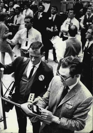 Michael Mason (left) and Louis Challis perform acoustics testing at the stock exchange in 1968.