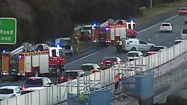 Fire crews at the scene of a smash on the Monash inbound at Stud Road.
