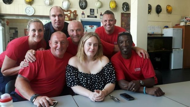 Adele Visits London Firefighters after Tower Block Blaze