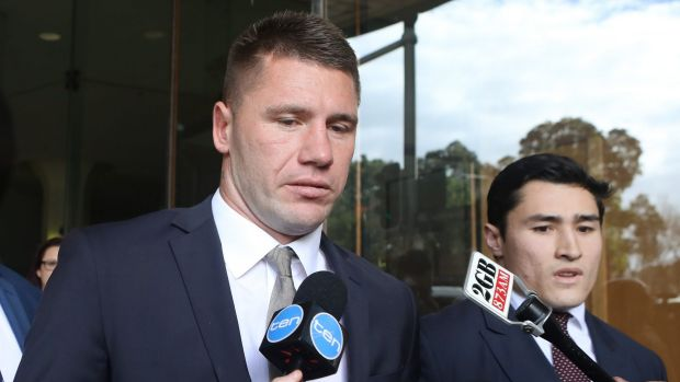 Tough times: Former Sydney Roosters player Shaun Kenny-Dowall leaves Downing Centre Court after pleading guilty of drug ...