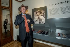 Tim Fischer and some of his tie collection.