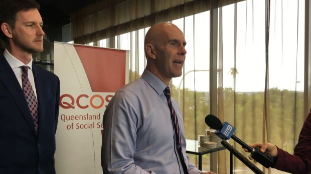 Energy Minister Mark Bailey and Queensland Council of Social Service chief executive officer Mark Henley at the Cost of ...
