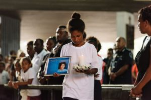 Friends and family at the funeral service for Dalzinia Kioniau.
