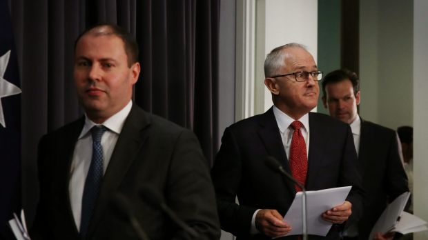 Prime Minister Malcolm Turnbull with Energy Minister Josh Frydenberg and Resources Minister Matt Canavan during a press ...