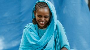 Mustariya Jamal, a 22 year old Kenyan woman who has lived her whole life from birth in Ethopia's Kakuma refugee camp.