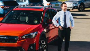 Subaru Fyshwick dealership principal Adam Clearihan with the new XV. SUVs continue to do well in the Canberra market.