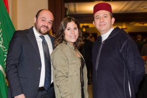 From left, Hachem El Moummy and Chama El Moummy, both of the Embassy of the Kingdom of Morocco, and Karim Medrek, ...