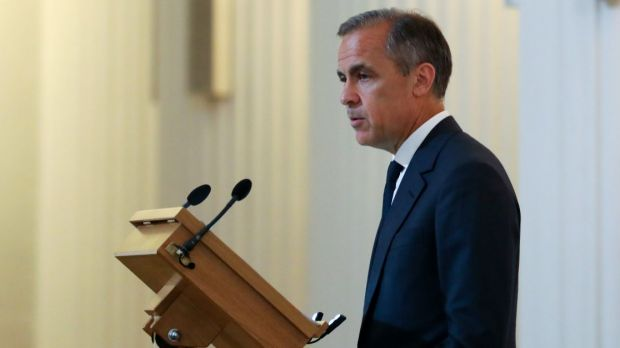 Sterling slid by more than half a cent after Carney distanced himself from three other BoE rate-setters who said last