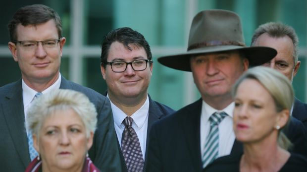 George Christensen (centre) at Parliament House with other federal Nationals MPs.