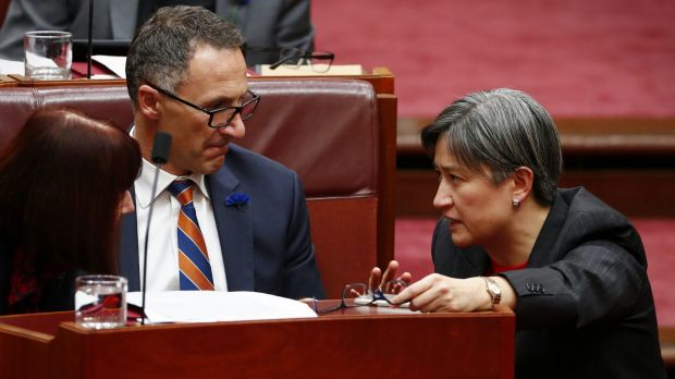 Greens leader Richard Di Natale and Labor's Penny Wong, who has not released citizenship documents.