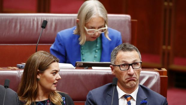 The Greens' Sarah Hanson-Young, Lee Rhiannon and Richard di Natale: set for further division.