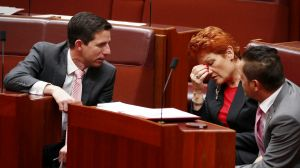 Minister for Education and Training Simon Birmingham during discussions with Senator Pauline Hanson in the Senate at ...