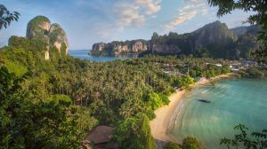 Thailand's cheapest beach: Railay Beach, Krabi.