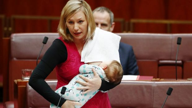 Larissa Waters' first lady to breastfeed a baby in parliament