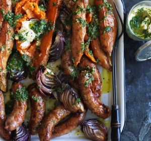 One-tray wonder: Baked sweet potato and sausages.