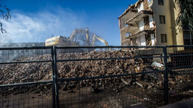 The demolition of public housing in civic, the ABC flats (Allawah, Bega and Currong buildings) on the edge of Civic ...
