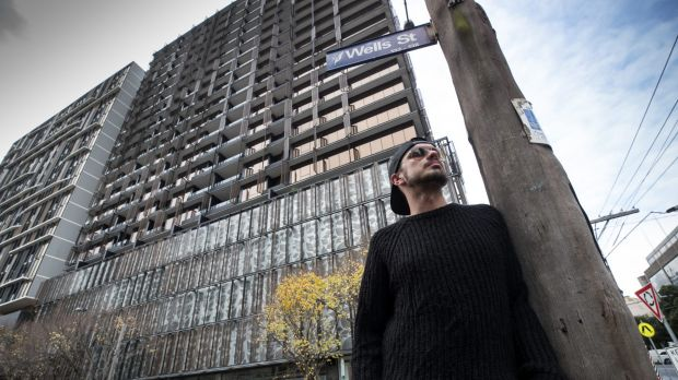 Resident Matt Roberts outside the  Elm Apartments in Southbank.