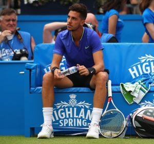 Thanasi Kokkinakis of Australia looks dejected during the mens singles second round match against Daniil Medvedev of Russia.