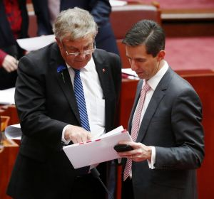 Senator Chris Back and Minister for Education and Training Simon Birmingham during debate on the Australian Education ...
