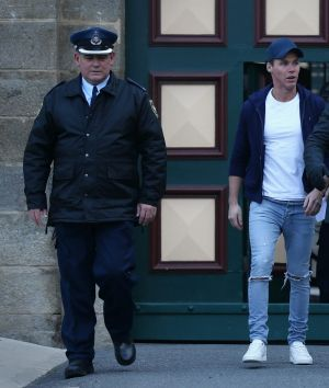 Oliver Curtis, husband of Roxy Jacenko, departs the Cooma Correctional Centre, in Cooma, on Friday.