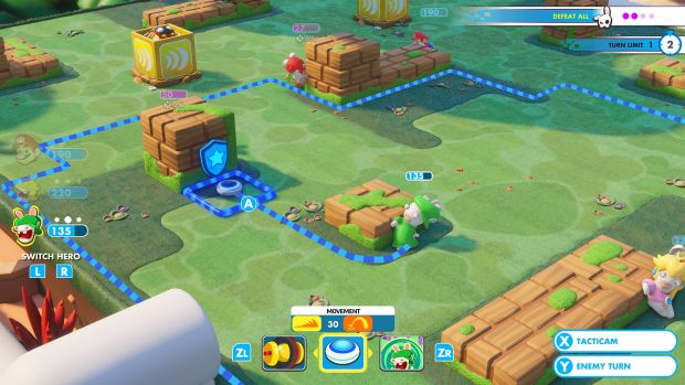 Rabbid Luigi makes his move. The blue line indicates how far he can move this turn.