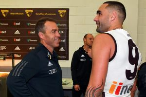 Hawks head coach Alastair Clarkson chats with Shaun Burgoyne after his stellar performance at the Adelaide Oval.