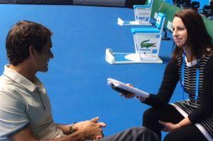 Cherished moments: Linda Pearce interviewing Roger Federer.