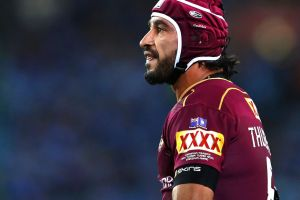 SYDNEY, AUSTRALIA - JUNE 21: Johnathan Thurston of the Maroons reacts during game two of the State Of Origin series ...