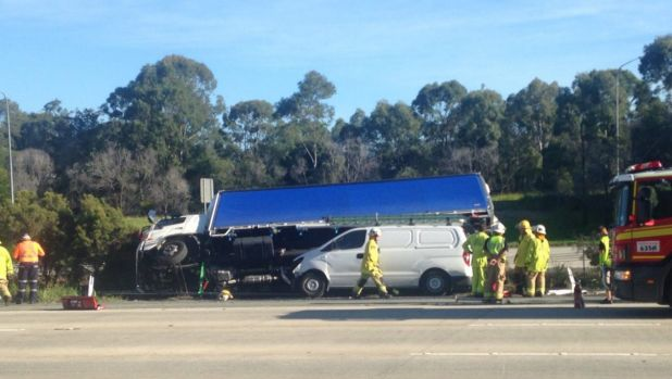 A truck rollover has caused major delays on the M1 southbound.