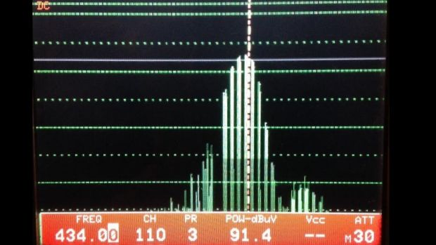 The frequency being registered on Elgin Street - 434 MHz.