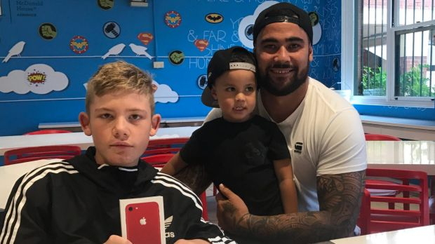 NSW Blues prop Andrew Fifita with Eli Chatfield, far left.